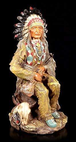Indianer Figur - Häuptling sitzend mit Friedenspfeife | Dekofigur, Handbemalt