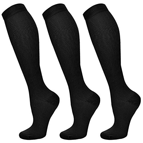 Compression Socks for Women & Men 3 Pairs 15-20-30 mmHg is Best Graduated Athletic, Running, Flight,Travel,Nurses(L/XL)