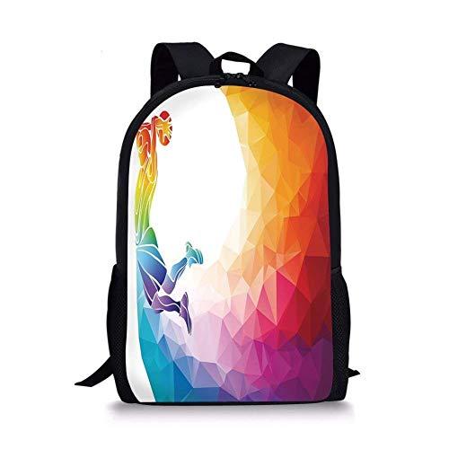 JINGS Decoración de apartamento de Mochilas Escolares, Tema de Color Arco Iris con un Jugador de Baloncesto, Hombre Deportivo, impresión de Saltos, Multicolor para niños y niñas, Mochila Deportiva