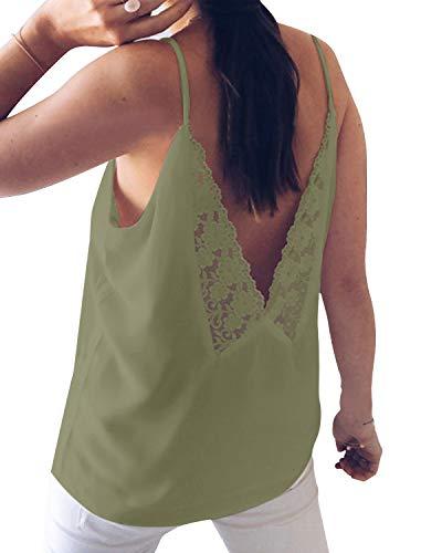 Camiseta de manga corta para mujer de Yoins, sexy, cuello en V, con encaje, monocromática Verde militar. M