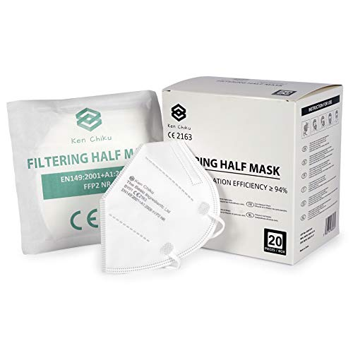 Ken Chiku 20 Stück FFP2 4-lagige Filtrations-Gesichtsmaske mit Ohrschlaufen, Komfortables, leichtes Design, einstellbar, hypoallergen, optimale Filtration zum Schutz, Einheitsgröße