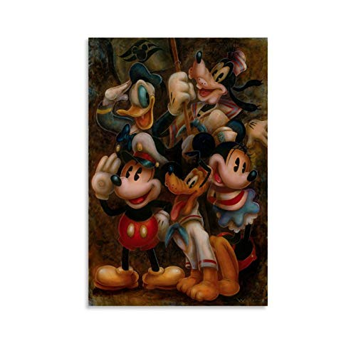 Mickey Mouse Minnie Donald Duck Daisy Posing for Oil Painting Wall Art Posters, Modern Art Decor Painting 24x36inch(60x90cm) Canvas Art Living Room Bedroom Art