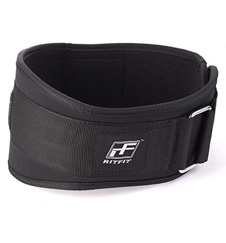 Holiday Sale - RitFit Weight Lifting Belt - Great for Squats, Crossfit, Lunges, Deadlift, Thrusters - Men and Women - 6 Inch Black - Firm & Comfortable Lumbar Support with Back Injury Protection