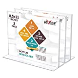 NIUBEE Acrylic Sign Holder 8.5x11 Inches 3 Pack Horizontal, T Shape Double Sided Clear Lucite Frames, Plastic Paper Flyer Display Holder, Document Menu Table Stand for Office, Store -Landscape