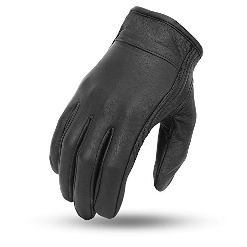 First Manufacturing Mens Breaker Clean Short Leather Motorcycle Gloves (Black, X-Large)