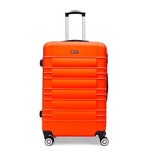 SHAIK Series CLASSIC DESIGN JFK Trolley Suitcase 3 sizes M   L   XL  Set - 40/78/124 Liters Hard & Flexible Case Carry On Luggage Travel Bags, 360⁰ Rotation Wheels (XL   28', Orange)