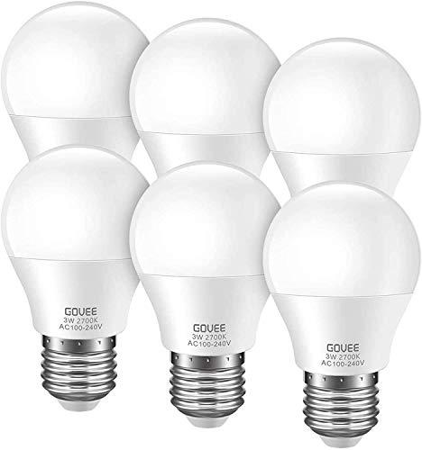 Govee LED Light Bulbs 3W (25 Watt Equivalent), G40 Light Bulbs 2700K Warm White E26 Medium Screw Base LED Bulbs Energy Saving for Bedroom Night Lights, Chandelier, Refrigerator, NOT DIMMABLE, 6 Pack