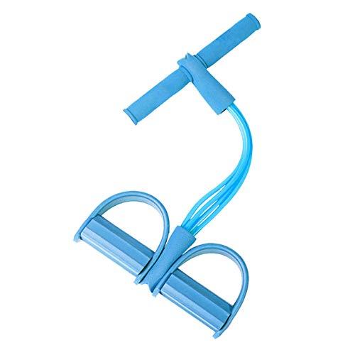 LKMING Dispositivo di Allenamento di Resistenza Multifunzionale a 4 Tubi per Esercizi per Braccia/Gambe/Addominali, Coulisse con Manico, Attrezzo Ginnico per Attrezzature Fitness da Casa(Blue)