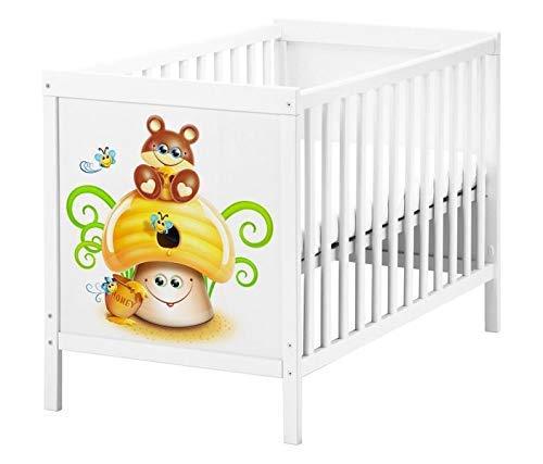 Set Möbelaufkleber für Ikea SUNDVIK Babybett Kinderzimmer Bär Honig Cartoon Kat2 Biene SU1 Aufkleber Möbelfolie sticker (Ohne Möbel) Folie 25T2548
