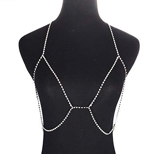Jovono Crystal Body Chain Bikini Harness Körperschmuck Kette Strass Taille Kette für Frauen und Mädchen (Silber)
