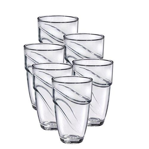 Duralex 1054AB06A0111 Wave Trinkglas, Wasserglas, Saftglas, 360ml, Glas, transparent, 6 Stück