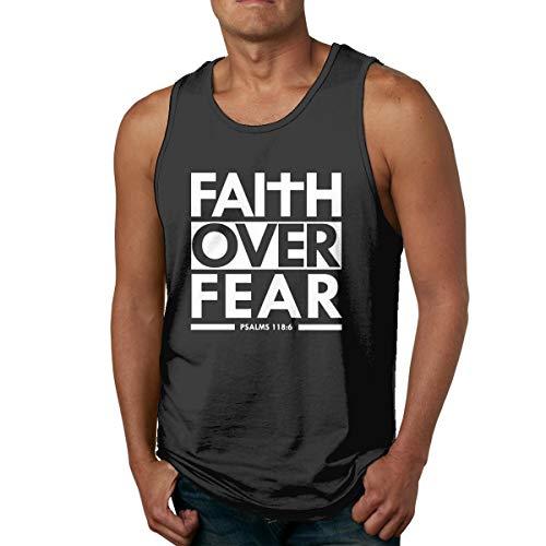 Faith Over Fear Bible Scripture Verse Christian All Cotton Tshirt Mans Soft Sleeveless Shirts Cool Fitness T Shirts Black