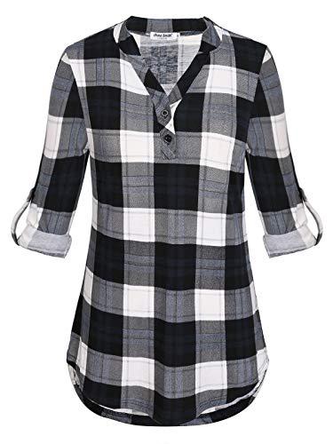 Anna Smith para Mujer Camisas y Blusas Tallas Grandes Manga Larga Ropa Casual de Negocios para Mujeres Flare Camisa a Cuadros Tops con Cuello en V Mujer versátil Moda Swing Camiseta Ligera Negro XXL