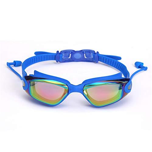 FGHYNL gafas2020 Nuevas gafas de natación profesionales con tapones para los oídos Gafas de natación Clip de nariz Galvanoplastia Impermeable Silicona 3cmx4.5cm Azul