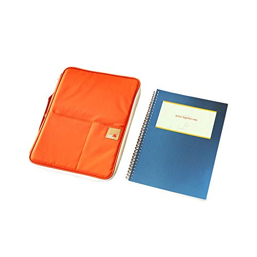 Better Together A4 Ver.03 - Multi-Functional Padfolio Portfolio Organizer - Travel Pouch for Ipads, Notebooks, Pens, Documents (Orange/Beige+Note)