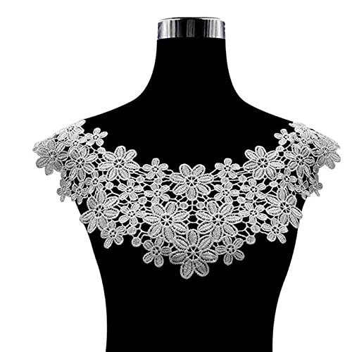 38 colores de tela de encaje de alta calidad apliques bordados escote vestidos de flores de bricolaje apliques de cuello tela de costura Su-White