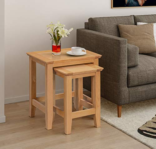 Hallowood Hereford Oak Nest of Tables | Solid Wooden Side/End/Lamp/Coffee Set of 2 Units, HRE-NES490