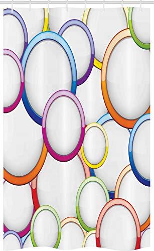 ABAKUHAUS Bunt Schmaler Duschvorhang, Kreise r&en Muster, Badezimmer Deko Set aus Stoff mit Haken, 120 x 180 cm, Mehrfarbig