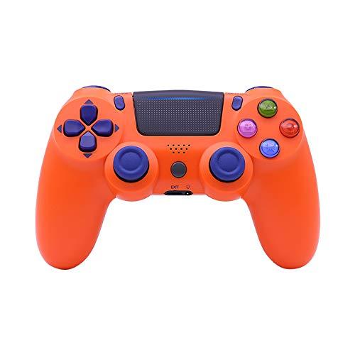 Frame Manette Gamepad PS4 sans Fil Bluetooth, Contrôleur De Jeu Émettant De La Lumière À Double Vibration, Longue Durée De Vie De La Batterie,Orange