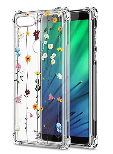 Oihxse Cristal Compatible con Huawei Y5 2019/Honor 8S Funda Transparente TPU Silicona Estuche Airbag Esquinas Anti-Choque Anti Rasguños Diseño Rosa Flower Caso (Flores A3)