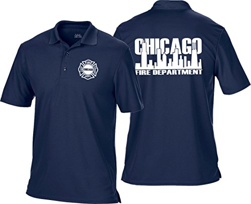 feuer1 Polo Bleu Marine Multifonctions, Chicago Fire Dept. en Blanc avec Skyline XXL Bleu Marine