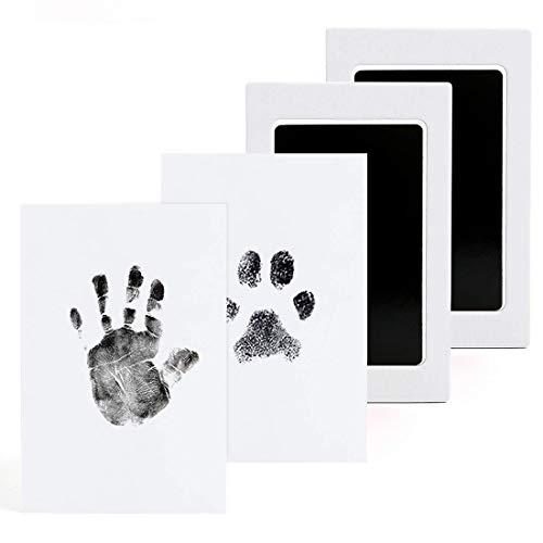 Baby Handabdruck und Fußabdruck, Baby Abdruckset für Neugeborene 0-6 Monate, Baby Fussabdruck Set, Pfotenabdruck Set Hund, Pfotenabdruck Set Katze, Clean Touch Stempelkissen, 2 pcs
