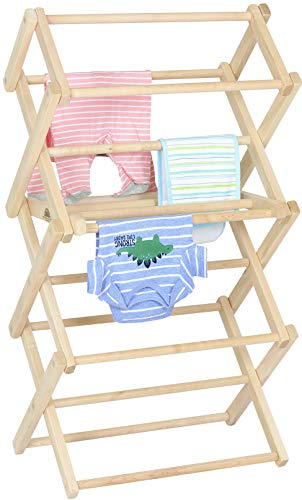 Pennsylvania Woodworks Clothes Drying Rack: Solid Maple Hardwood Laundry Rack for Baby Clothes, Hand Towels, Delicates & More, Durable Small Folding Drying Rack, Made in USA, No Assembly Needed
