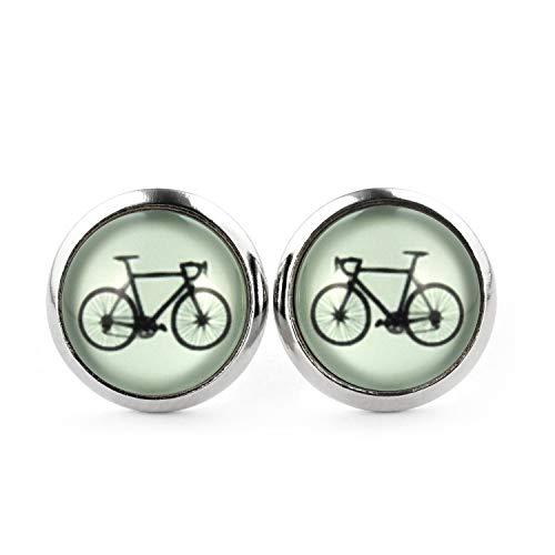 SCHMUCKZUCKER Damen Ohrstecker Motiv Fahrrad Edelstahl Ohrringe Silber Llind-Grün 12mm