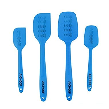 Silicone Spatula set of 4-600ºF Heat-Resistant–Steel Core with Measurement Conversion on surface-food grade & BPA free (Blue)