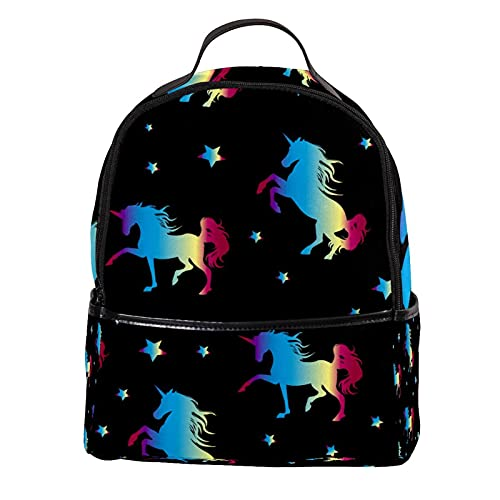 AITAI Mochila de piel sintética Galaxy Star Unicornio colorido 09 al aire libre Escuela College Bookbag Fit Mochila