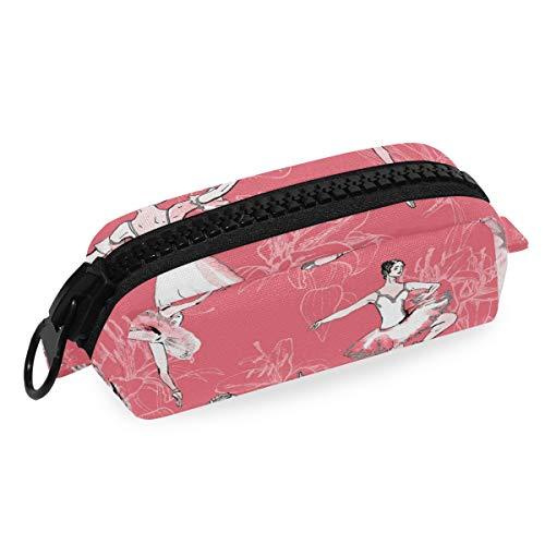 DEZIRO - Bolsa de maquillaje para viaje, bolsa de cosméticos, bailarinas de ballet, fondo de chica, bolsa de brochas de maquillaje para mujeres y niñas