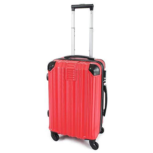 Todeco - Carry On Suitcase, Cabin Luggage - Dimensioni (ruote incluse): 56 x 38 x 22 cm - Tipologia ruote: 4-ruote con 360° di rotazione - Bagaglio a mano 51 cm, Rosso, ABS, Protected Corners, Double