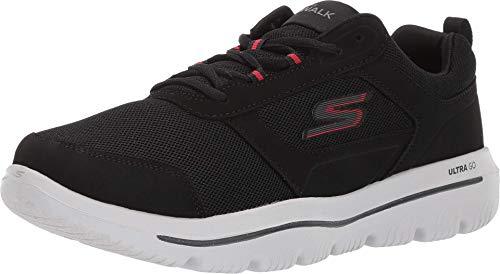 Skechers Herren Go Walk Evolution Ultra-enhan Sneaker, Schwarz (Black Synthetic/Red Trim BKRD), 41 EU