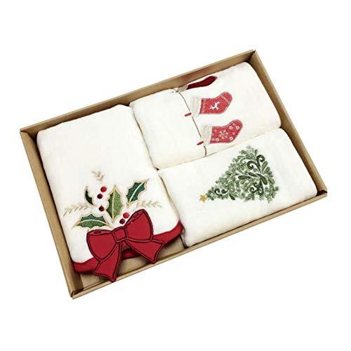 Toalla de baño Cuadrada de 2/3 Piezas, Juego de Toallas para la yema del Dedo con patrón navideño de Mezcla de algodón, 14.96x23.62 Pulgadas