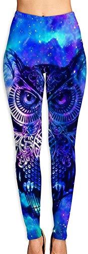 MODORSAN Toallas Blue Owl Mujer Yoga Entrenamiento Correr Biker Mallas elásticas Leggings con Estampado Suave-L