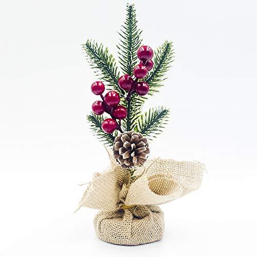 WWDKF adorno de Navidad rojo fruta pino cono pino aguja adornos de corte para decoración de escritorio (un conjunto de 2), D