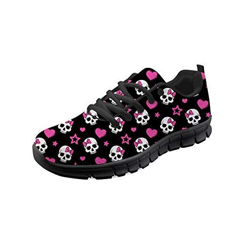 Showudesigns Skull Cute Running Sport Shoes for Women Teen Girls Outdoor Walking Shoes Jogging Flats Black