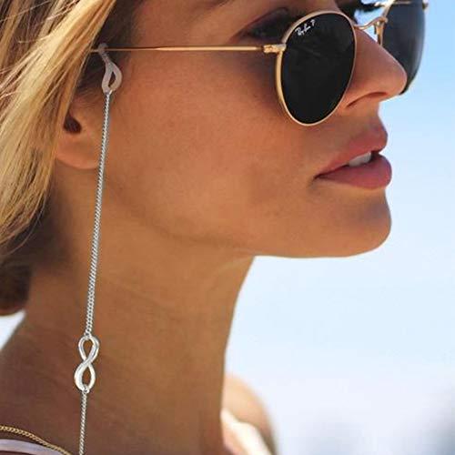 Yienate Boho-Brillenketten mit Glückszahl 8, rutschsichere Brillenkette, Brillen-Zubehör, Brillen-Halter, Sonnenbrillen-Halter, für Frauen und Mädchen (Silber)