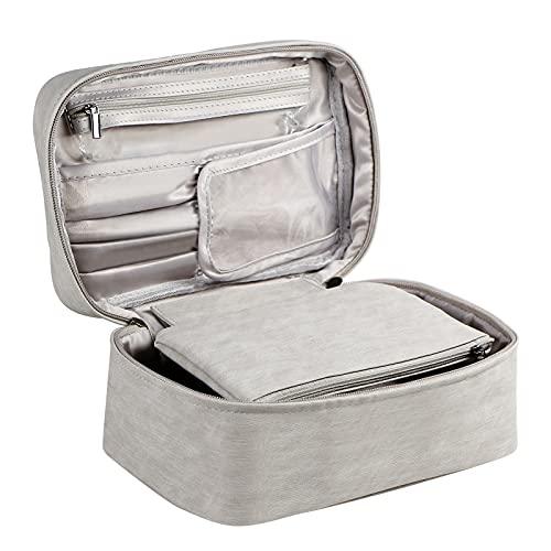 HIJJMAXX Bolsa de maquillaje de viaje, organizador de cosméticos con bolsa de soporte para cepillo y bolsa de almacenamiento portátil para bolso, bolsa de aseo grande para mujeres y niñas
