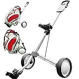 YGWL Carro De Golf Plegable De 2 Ruedas Push Pull,Carretilla De Mano Ligera Y Portátil para Accesorios...