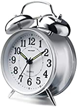 Peakeep 4 inches Twin Bell Loud Alarm Clock for Heavy Sleepers (Chrome Finish)