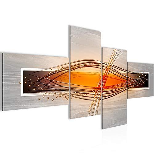 Bilder abstrakt Wandbild 150 x 71 cm Vlies - Leinwand Bild XXL Format Wandbilder Wohnzimmer Wohnung Deko Kunstdrucke Weiß 4 Teilig - Made IN Germany - Fertig zum Aufhängen 103345c