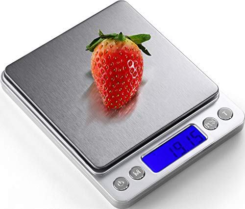 Digital Kitchen Scale 500g / 0.01g ; Mini Pocket Jewelry Scale, Food Scale for Kitchen, 2 Trays, 6 Units, Auto Off, Tare, PCS Function, Stainless Steel, Batteries Included
