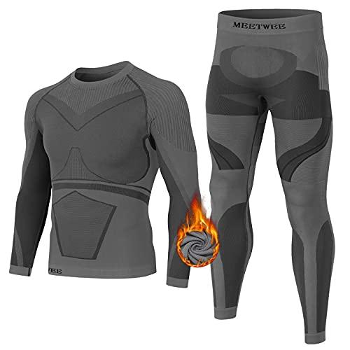 MEETWEE Thermounterwäsche Herren, Funktionsunterwäsche Winter Skiunterwäsche Suit Atmungsaktiv Thermo Lange Unterwäsche Set Thermowäsche Unterhemd + Unterhose