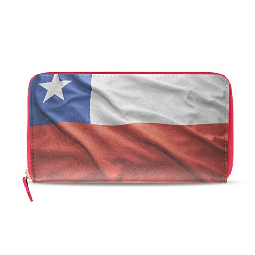 Cartera de Piel con Bandera de Chile Envejecida para Mujer