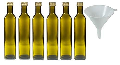 Viva Haushaltswaren - 6 bottiglie di vetro marrone/olio da 500 ml con tappo dorato, bottiglie vuote utilizzabili come contenitore e aceto (con imbuto Ø 12 cm)