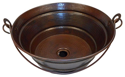 "SimplyCopper- 15"" Rustic Round Copper BUCKET Vessel Bath Sink"