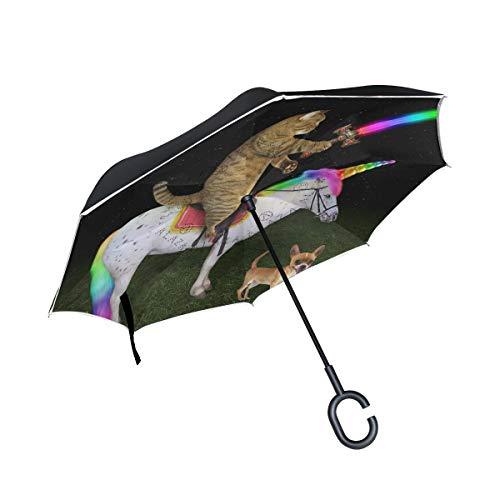SKYDA Umkehr-Regenschirm Katze auf dem Einhorn in der Nähe von Hund, doppelschichtig, Winddicht, Regenschirm für Auto und Regen mit C-förmigem Griff