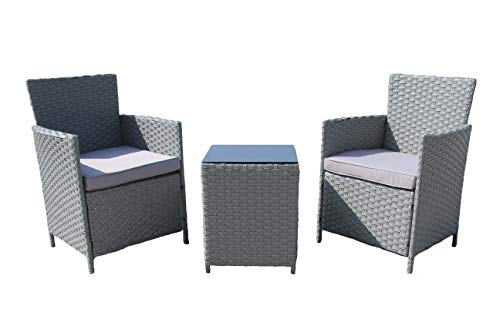 Chusstang 3 PCS Rattan Garden Furniture Sets Grey Outdoor 2 Seater Garden Patio Table and Chairs Set with Cushions Rattan Wicker Dining Furniture Sets Garden Bistro Set for Indoor Outdoor
