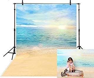 Funnytree 5X7FT Summer Sea Beach Sunshine Photography Backdrops Blue Sky Sandy Background for Vacation Wedding Birthday Party Banner Baby Shower Photo Studio Photobooth Props